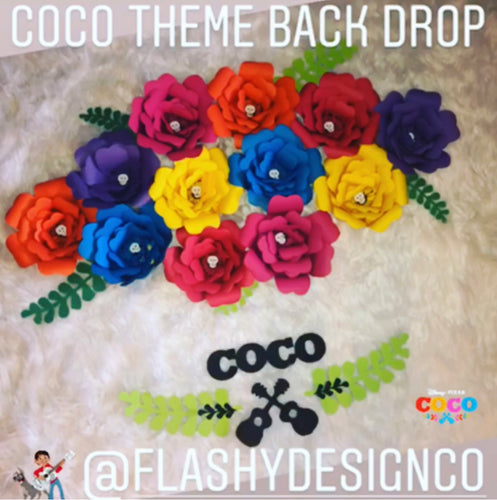COCO Theme Paper Flower Back Drop