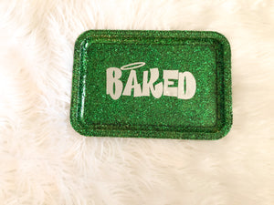 Baked Green Glittered Rolling Tray