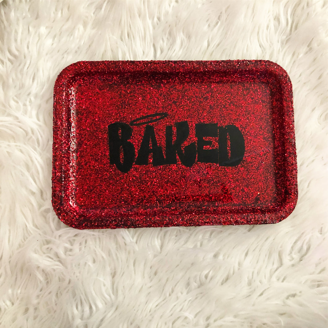 Baked Red Glittered Rolling Tray
