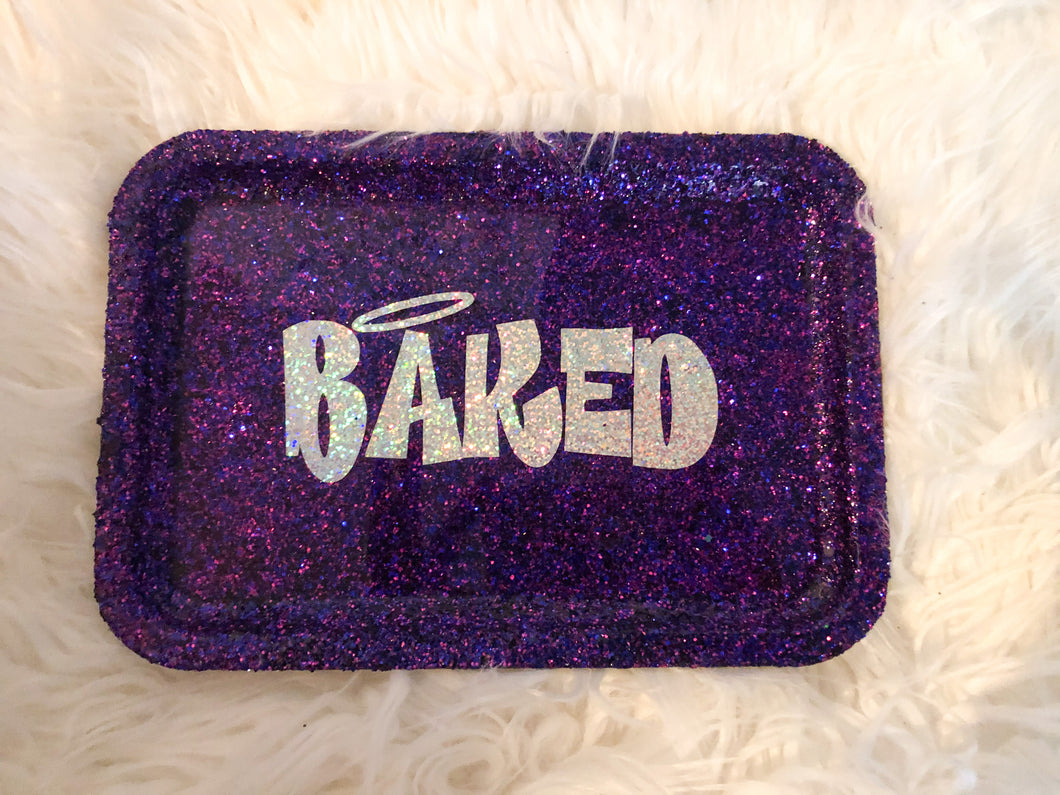 Baked Purple Glittered Rolling Tray