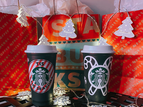 Christmas Starbucks Hot Reusable Tumbler Personalized