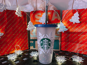 Christmas Snow Starbucks Reusable Tumbler Personalized