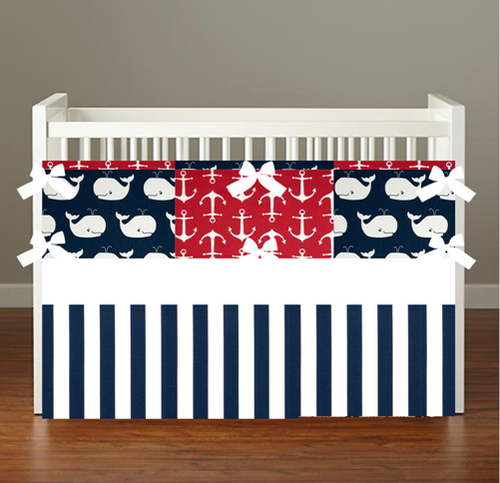 NAUTICAL NAVY RED WHALE Crib & Toddler Bedding