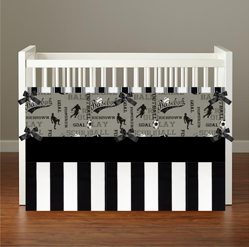 SPORTS BLACK Crib & Toddler Bedding