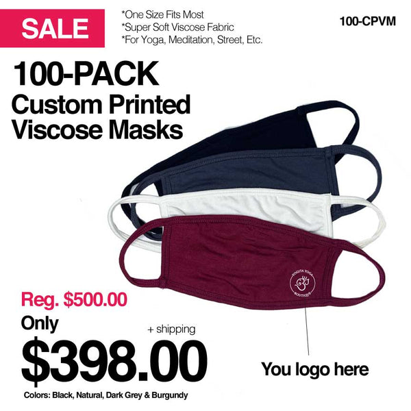 SUPER SOFT VISCOSE SPORTS OUTDOORS YOGA 2-PLY MASK 100-CUSTOM PACK