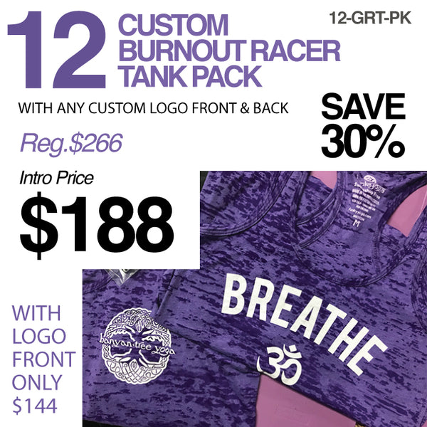 12-PACK ASSORTED BURNOUT RACER TANKS CUSTOM LOGO