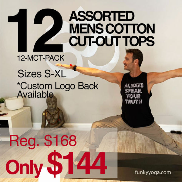12-PACK ~ ASSORTED COTTON MEN'S FITTED CUT-OUT TOPS (SAVE 15%) LOGO BACK OPTIONAL