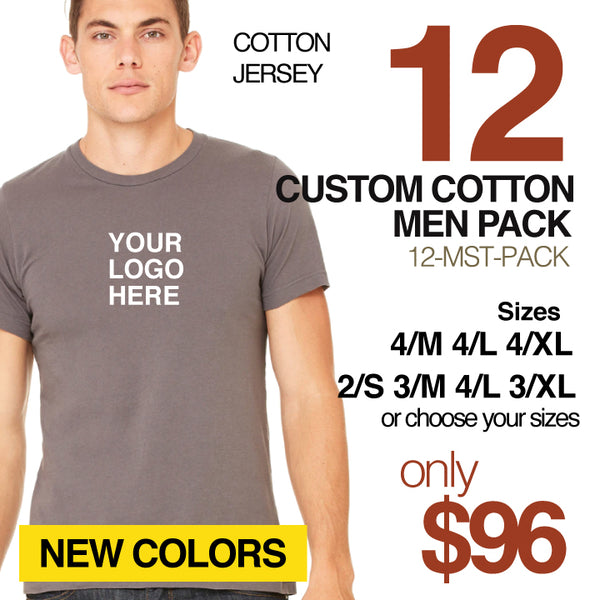 12-PACK ~ CUSTOM COTTON MEN'S FITTED CREW NEW COLORS (SAVE 35%)