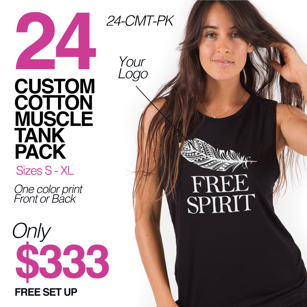 24-PACK COTTON  MUSCLE TANK CUSTOM LOGO OR BACK 24-CMT-PK