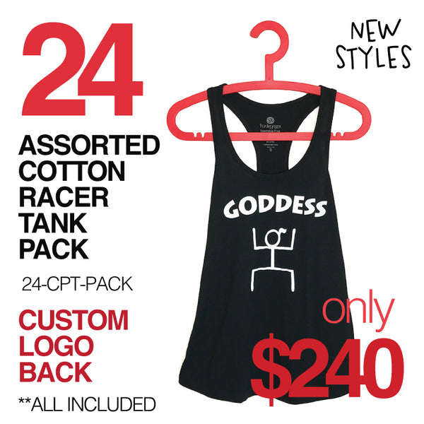 24-PACK ASSORTED COTTON RACER TANKS WITH  CUSTOM LOGO BACK (FREE SHIPPING)