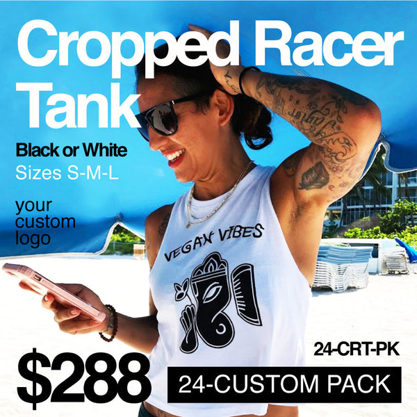 24-PACK CROPPED RACER TANK CUSTOM LOGO OR BACK