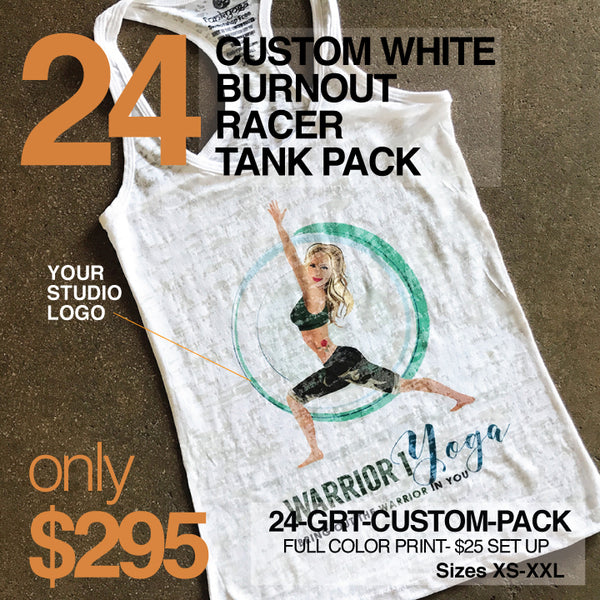 24-PACK WHITE BURNOUT RACER TANKS CUSTOM LOGO