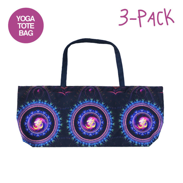 3-PACK OM MANDALAS ~ WATERPROOF RECYCLED YOGA TOTE BAG 32X10