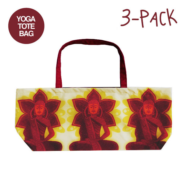 3-PACK RED BUDDHAS ~ WATERPROOF RECYCLED YOGA TOTE BAG 32X10