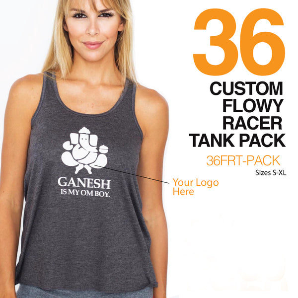 36-PACK FLOWY RACER TANK CUSTOM LOGO OR BACK
