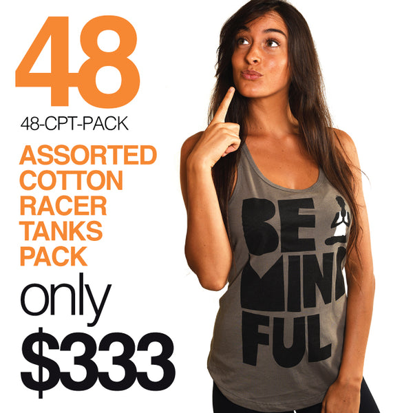 48-PACK ASSORTED COTTON RACER TANKS WITH LOGO FRONT (FREE SHIPPING US ONLY)