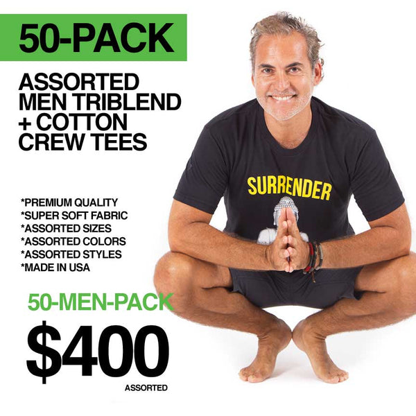 50-PACK MEN ASSORTED ONLY LOGO FRONT TRIBELN / COTTON CREW TEES