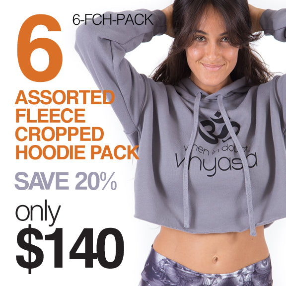 6-PACK~ ASSORTED FLEECE CROPPED HOODIE 6-FCH-PK  (SAVE 20%) LOGA BACK OPTIONAL