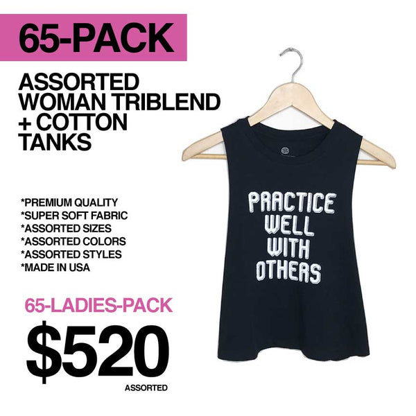 65-PACK SALE WOMEN ASSORTED ONLY LOGO FRONT RACER + MUSCLE TANKS