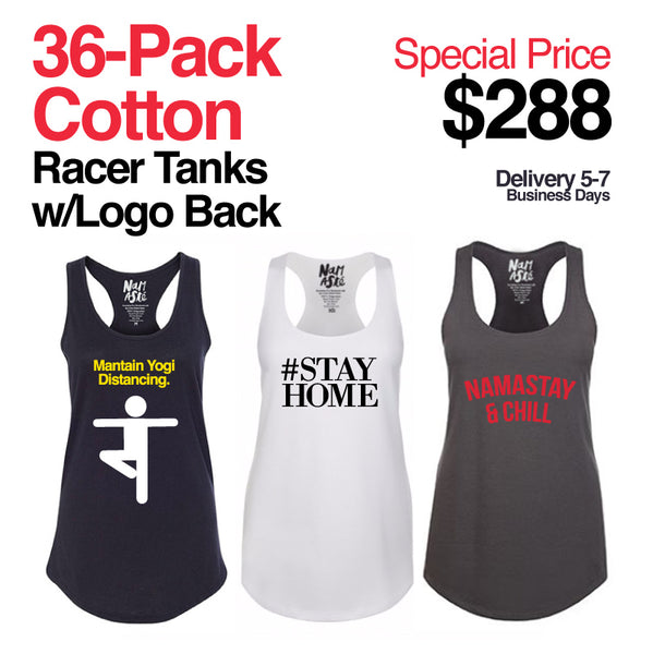 36-PACK ASSORTED LIMITED EDITION COTTON RACER TANKS WITH  CUSTOM LOGO BACK (FREE SHIPPING)
