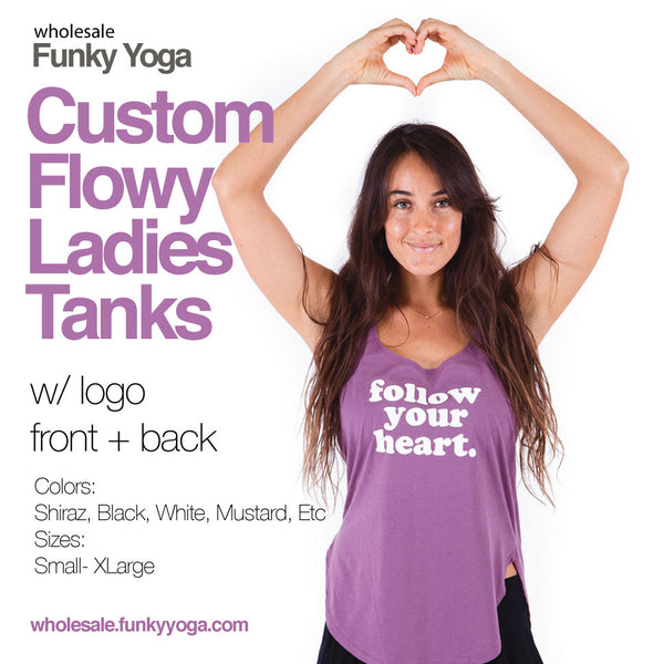 16-CLOSEOUT PACK Flowy Ladies Tanks Custom Logo Front + Back