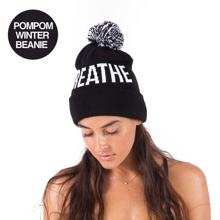 3-PACK BREATHE ~ FUNKY YOGA POMPOM WINTER BEANIE FY146-PWB-BK