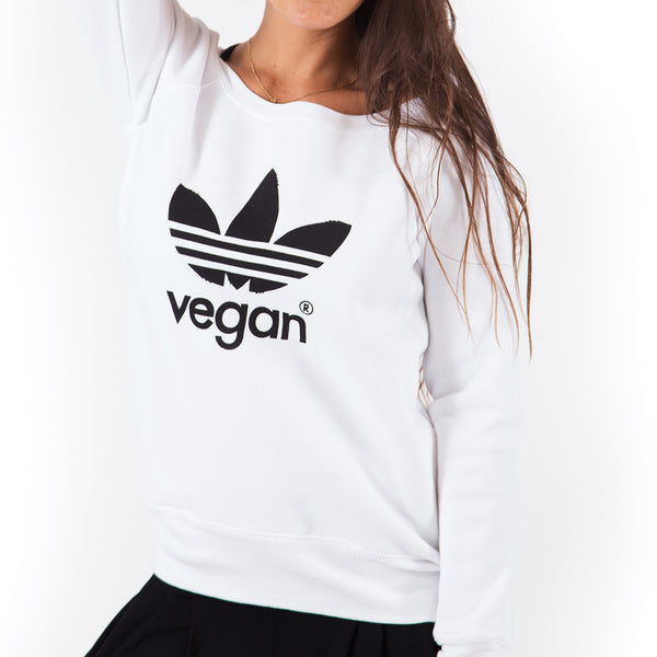 VEGAN ~ WHITE OFF THE SHOULDER TRI BLEND FLEECE FY484-OSF-WH