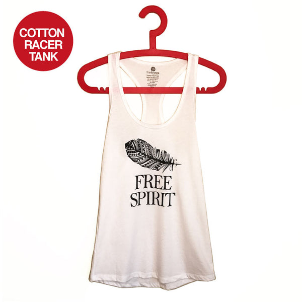 FREE SPIRIT ~ WHITE  COTTON RACER TANK FY486-CPT-WH