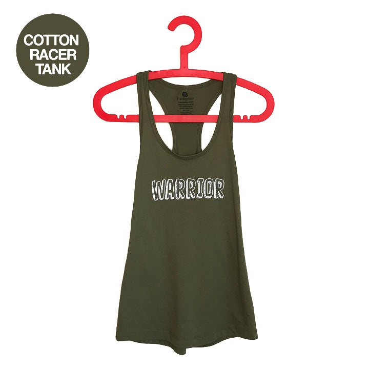 WARRIOR ~ MILITARY GREEN COTTON RACER TANK FY494-CPT-OL