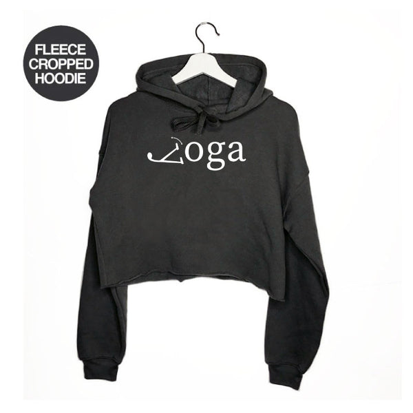 YOGA LEGS ~ DARK HEATHER GREY FLEECE CROPPED HOODIE FY522-FCH-DHG