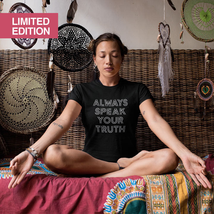 ALWAYS SPEAK YOUR TRUTH ~ LIMITED EDITION BLACK COTTON SHEER TEE FY530-GST-BK