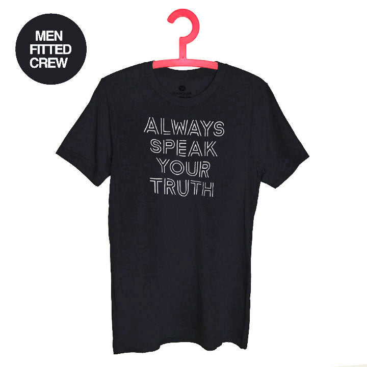 ALWAYS SPEAK THE TRUTH ~ SOLID BLACK MENS SHEER JERSEY FITTED CREW T-SHIRT FY530-MST-BK