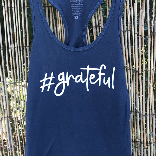 HASHTAG GRATEFUL ~ INDIGO COTTON RACER TANK FY531-CPT-IN