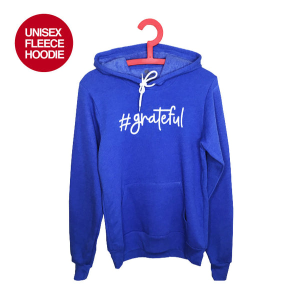 HASHTAG GRATEFUL~ HEATHER ROYAL UNISEX  FLEECE TRIBLEND HOODIE FY531-UFH-HR