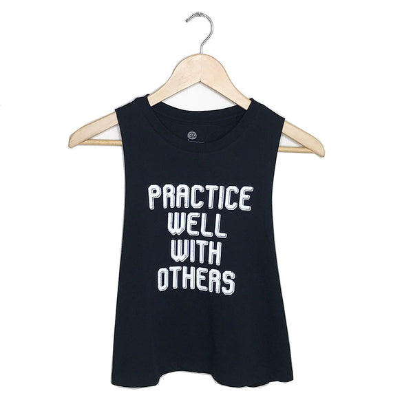 PRACTICE WELL WITH OTHERS ~ BLACK CROPPED RACER TANK 663-CRT-BK