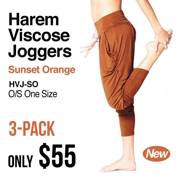 3-PACK ~ SUNSET ORANGE HAREM VISCOSE JOGGER PANTS WITH POCKETS (NO PRINT) HVJ-SO