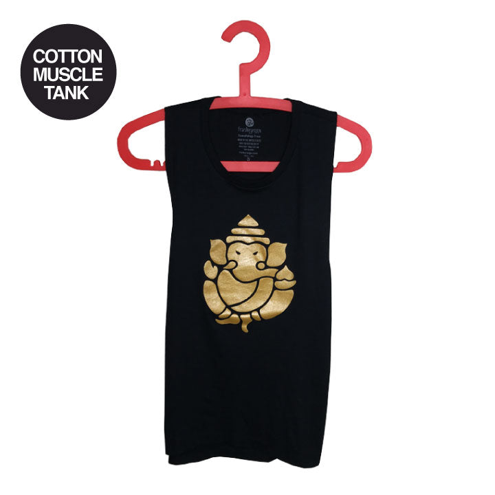 GANESH GOLD ~ BLACK COTTON FLOWY MUSCLE TANK NA02-CMT-BK
