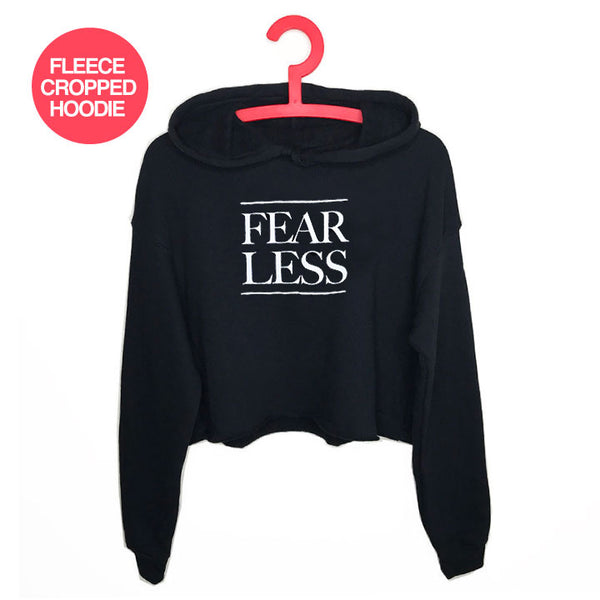 FEARLESS ~ SOLID BLACK FLEECE CROPPED HOODIE NA013-FCH-BK