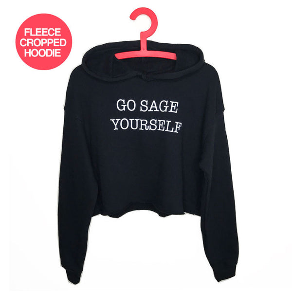 GO SAGE YOURSELF ~ SOLID BLACK FLEECE CROPPED HOODIE NA015-FCH-BK