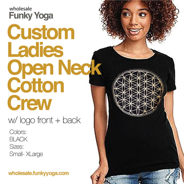 LADIES ~ BLACK OPEN NECK COTTON CREW T-SHIRT CUSTOM PACK