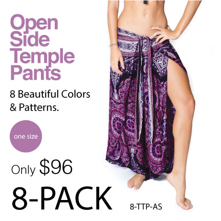 NAMASTE BASICS ~ 8-PACK COTTON OPEN SIDE TEMPLE PANTS 8-TTP-PK