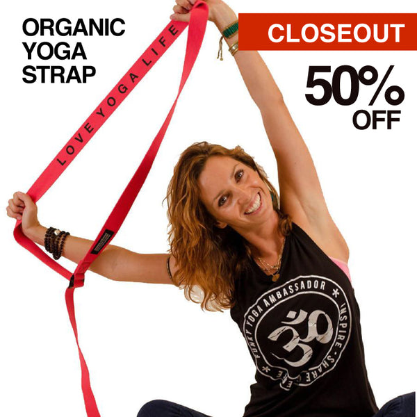 10-PACK CLEARANCE 8' ORGANIC PRINTED RED YOGA STRAP CLOSEOUT