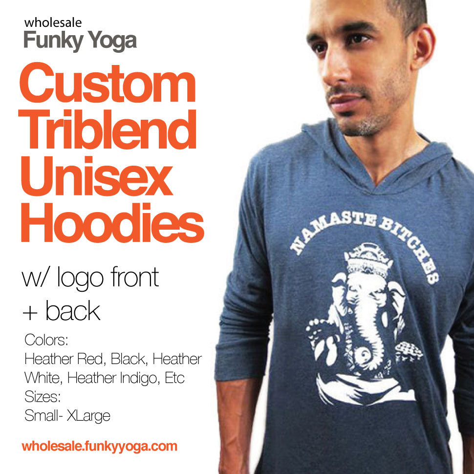 3-Unisex Triblend Hoodies Custom Logo Front + Back