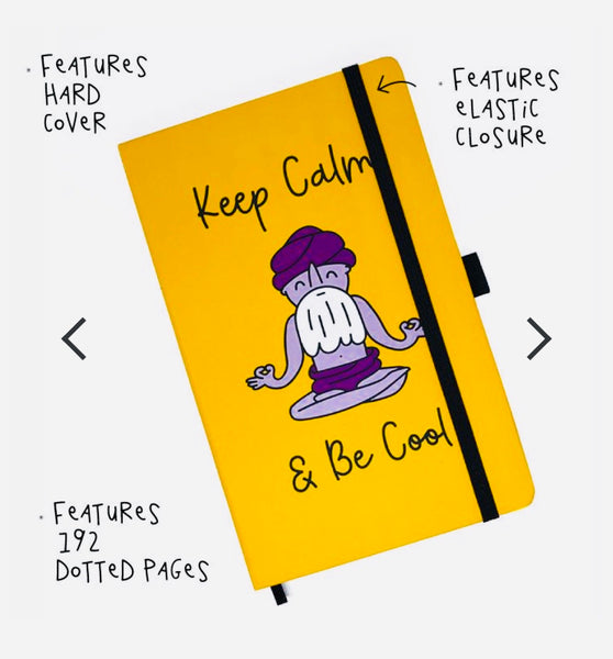 3-PACK ~ KEEP CALM & BE COOL ~ HARD COVER TRAVEL NOTEBOOK ~ 192 DOTTED PAGES   FY521-TNB-YW