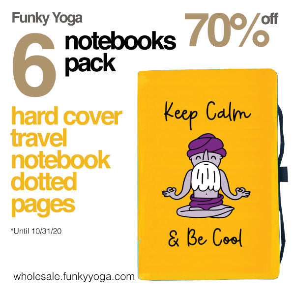 6-PACK ~ KEEP CALM & BE COOL ~ HARD COVER TRAVEL NOTEBOOK ~ 192 DOTTED PAGES   FY521-TNB-YW