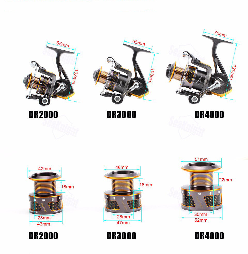 front drag spinning fishing reel 3 sizes to choose from
