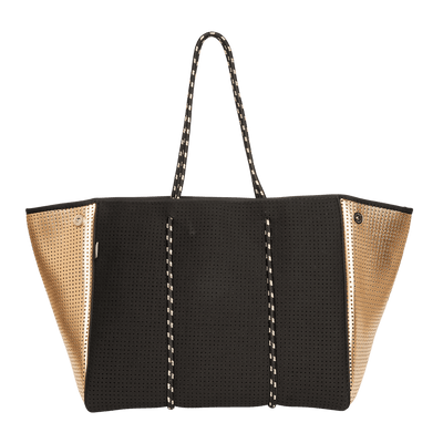 Mikah Neoprene Tote Bag (Black / Gold Metallic) - Chuchka
