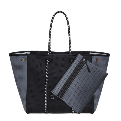 Syd Neoprene Tote Bag (Black/Charcoal) - Chuchka
