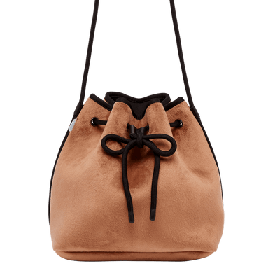 Jojo Velvet Tan Bucket Bag - Chuchka