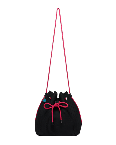 Lilly Black/Pink Neoprene Bucket Bag - Chuchka